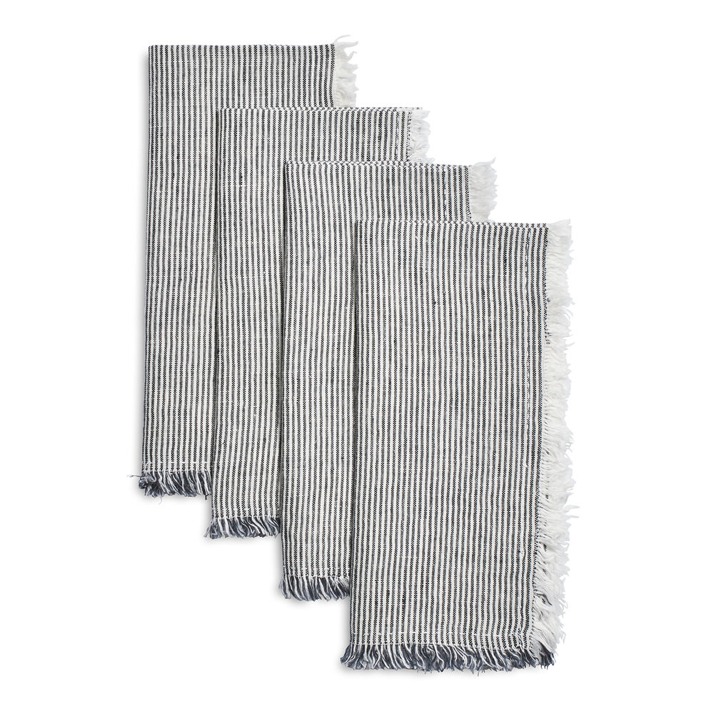 Frayed Stripe Linen Napkins, Set of 4