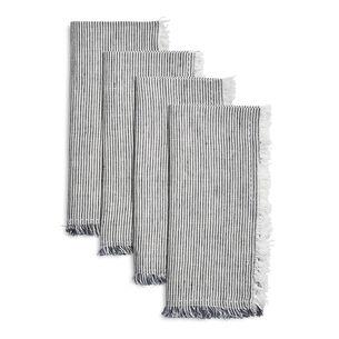 Frayed Stripe Linen Napkins, Set of 4