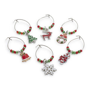 Christmas Wine Charms, Set of 6