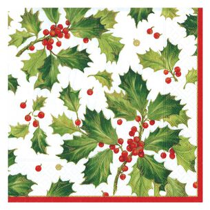 Gilded Holly Cocktail Napkins, Set of 20