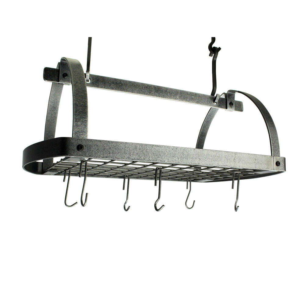 Enclume Hammered Steel Low-Ceiling Oval Pot Rack
