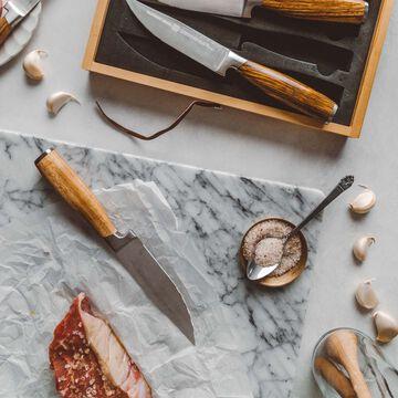 Schmidt Brothers Cutlery Zebra Wood Jumbo Steak Knives, Set of 4