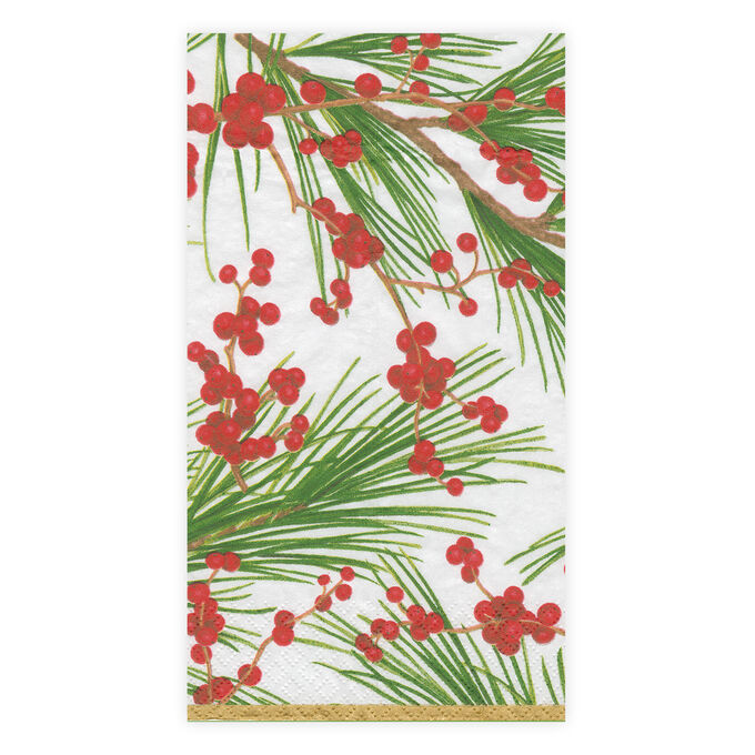 Berries on Pine Guest Napkins, Set of 15