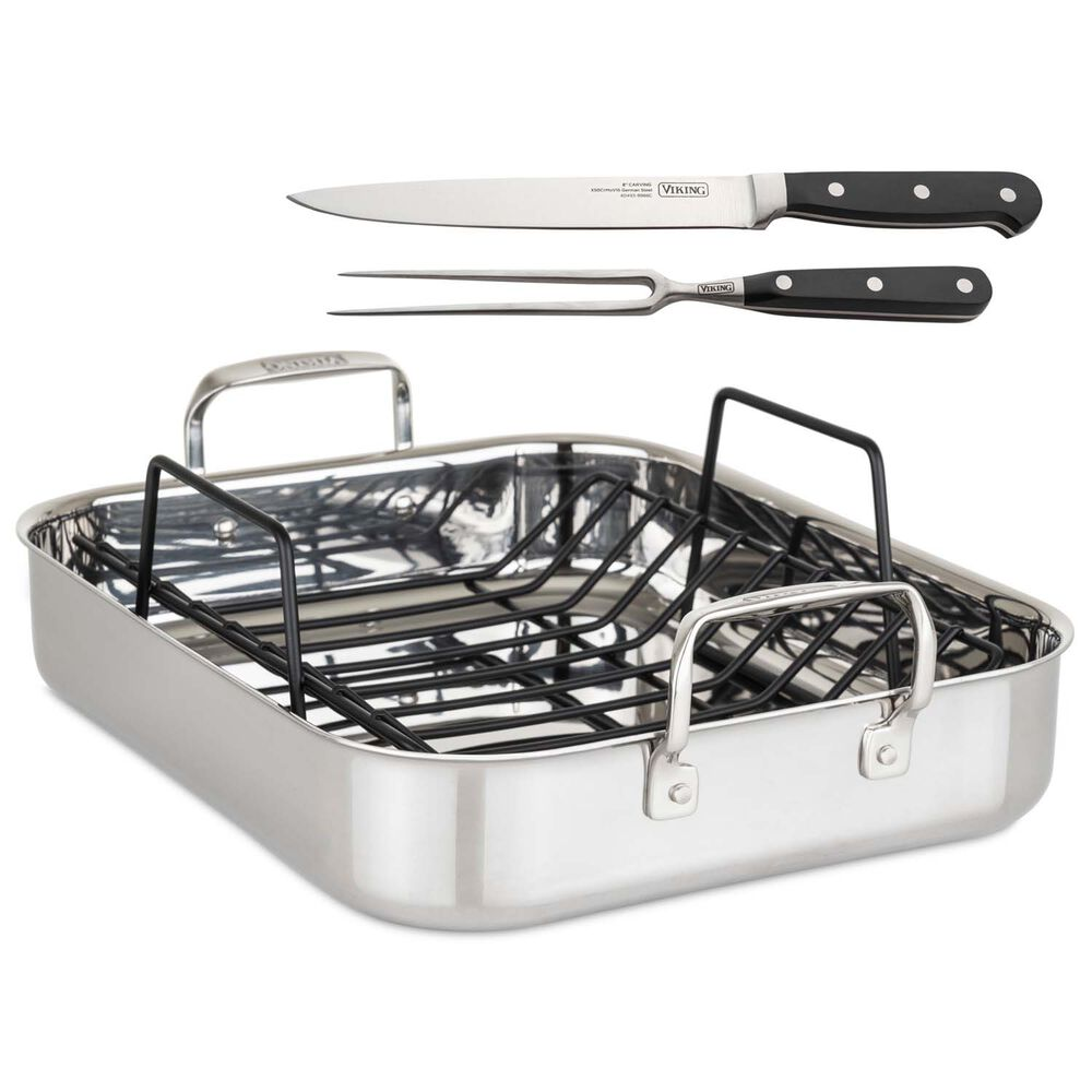 Viking 3-Ply Roasting Pan with Nonstick Rack and 2-Piece Carving Set