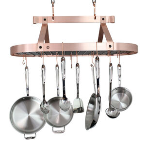 Enclume Brushed Copper Low-Ceiling Oval Pot Rack