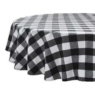 Black & White Plaid Water-Resistant Round Tablecloth, 70""