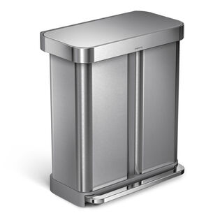simplehuman Dual Trash and Recycling Can, 15.32 gal.