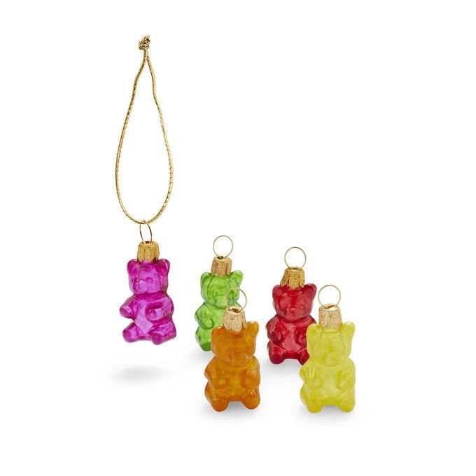 Gummy Bear Glass Ornaments, Set of 5