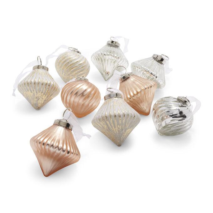 Mercury Glass Ornaments, Set of 9