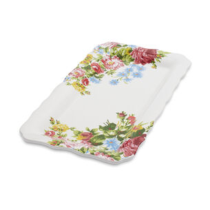 """Rose Garden Platter by April Cornell, 14"""" x 8"""""""