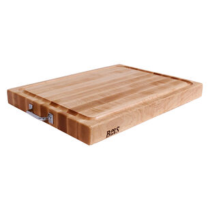 "John Boos & Co. Maple Edge-Grain Cutting Board with Juice Groove and Chrome Handles, 24"" x 18"" x 2¼"""