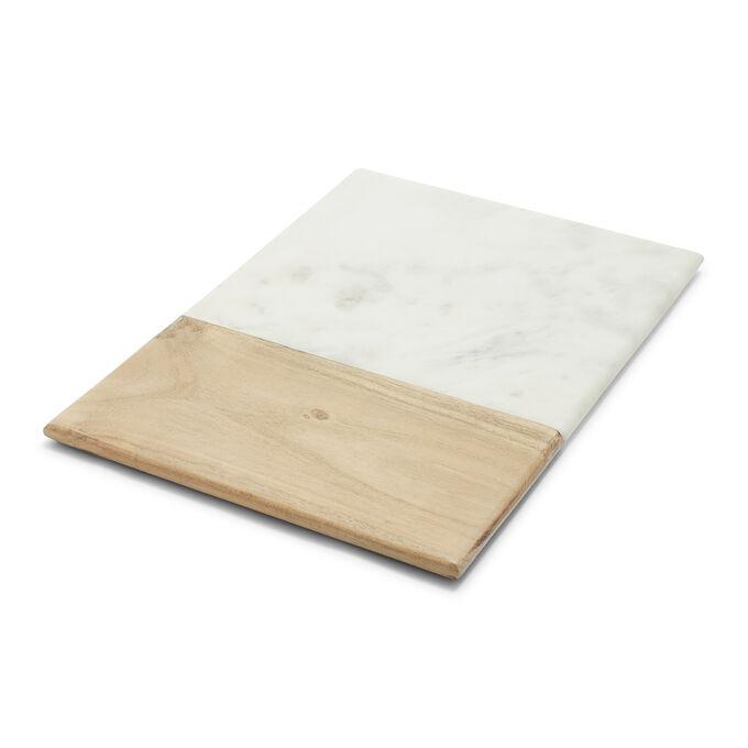 Rectangular Marble and Acacia Wood Serving Board