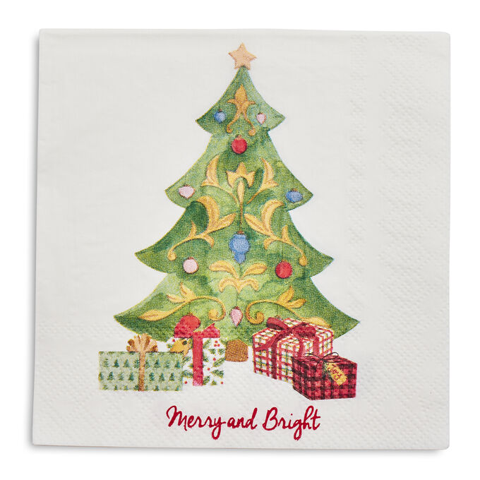 Christmas Tree Paper Cocktail Napkins, Set of 20