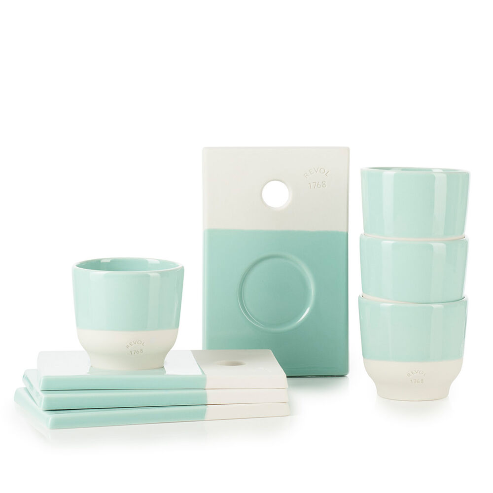 Revol Color Lab Espresso Cups with Saucers, Set of 4