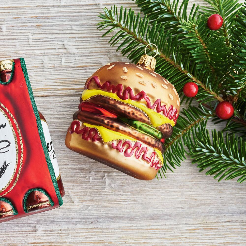 Cheeseburger Glass Ornament