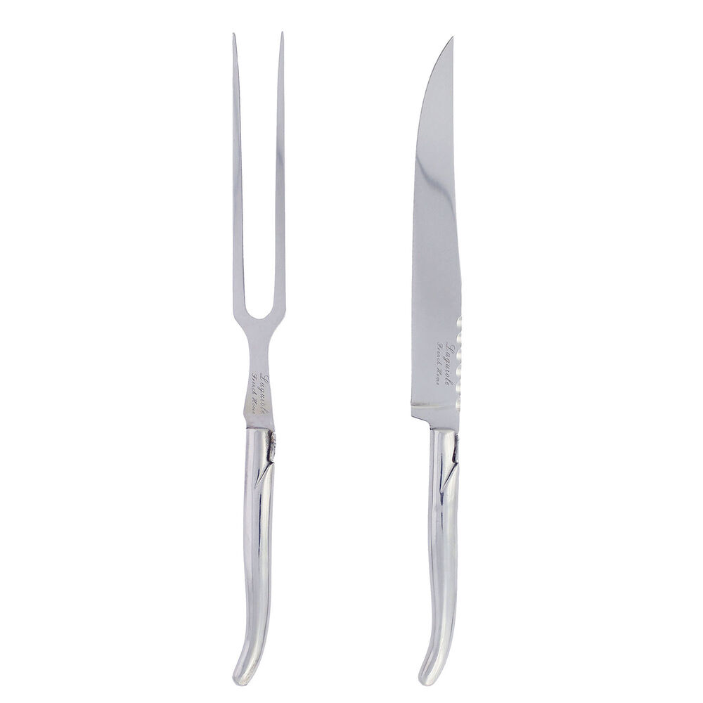 French Home Laguiole Stainless Steel Carving Knife and Fork Set