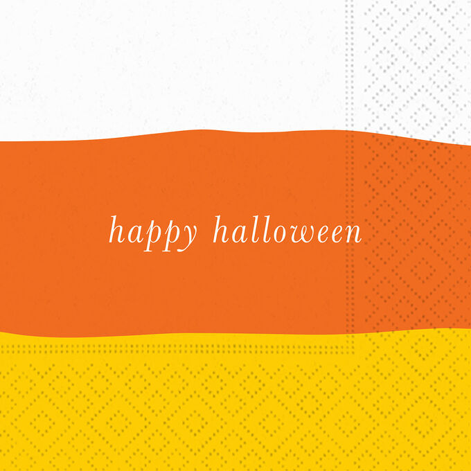 """""""Happy Halloween"""" Candy Corn Cocktail Napkins, Set of 20"""