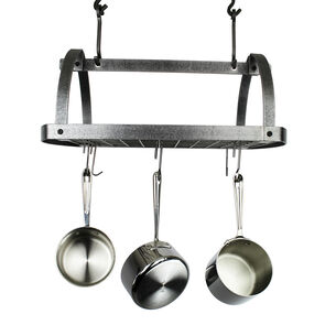 Enclume Hammered Steel Low-Ceiling Oval Pot Rack
