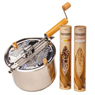 Stainless Steel Whirley Pop with Farm Fresh Popcorn