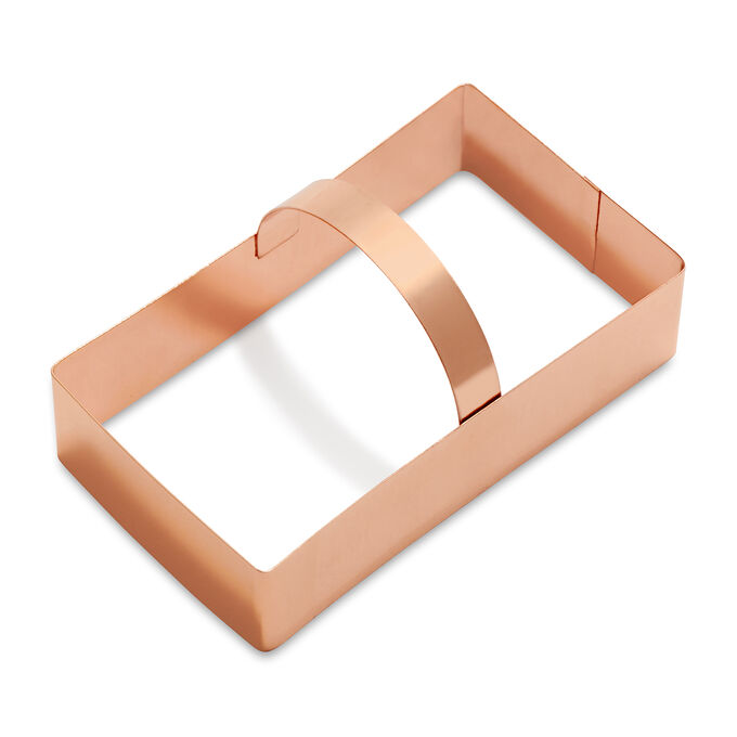 Sur La Table Copper-Plated Rectangle Cookie Cutter with Handle, 4""