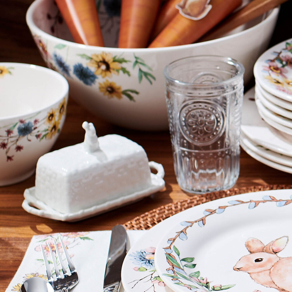 Earthenware Bunny Butter Dish