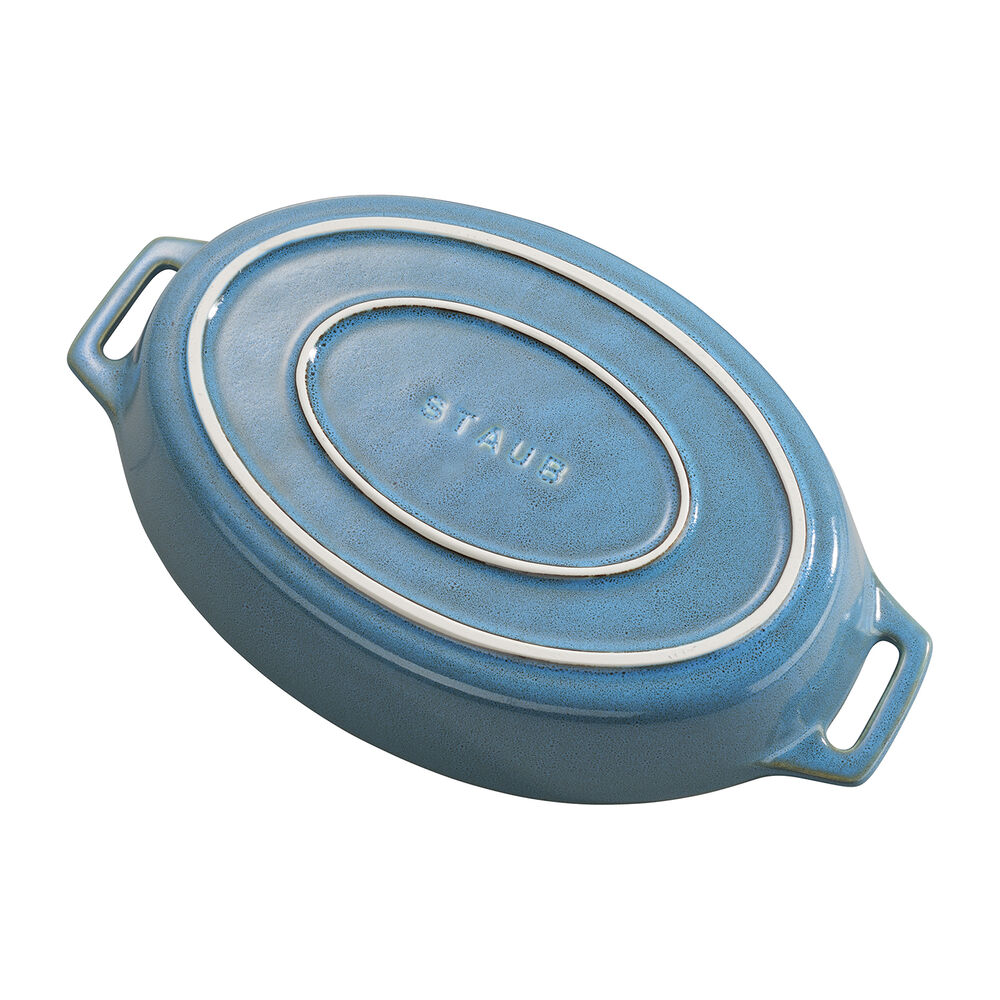 Staub Rustic Ceramic Oval Bakers, Turquoise