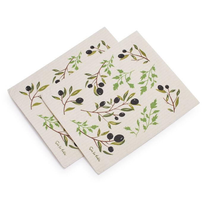 Swedish Olive Dishcloths, Set of 2