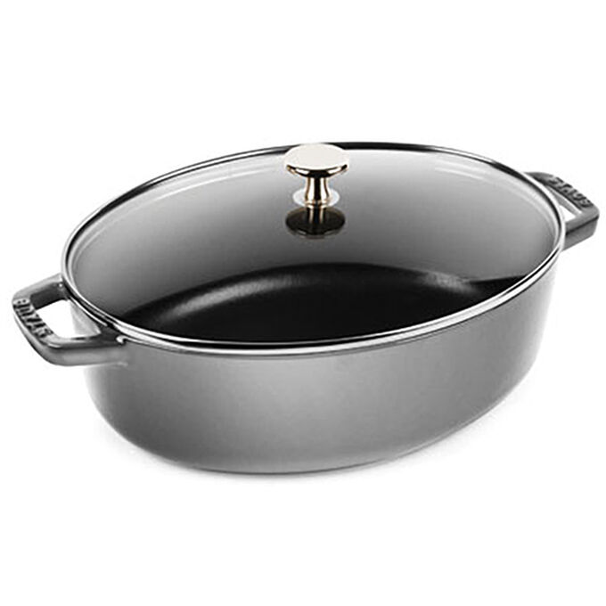 Staub Shallow Oval Cast Iron Cocotte with Glass Lid, 4.25 qt.