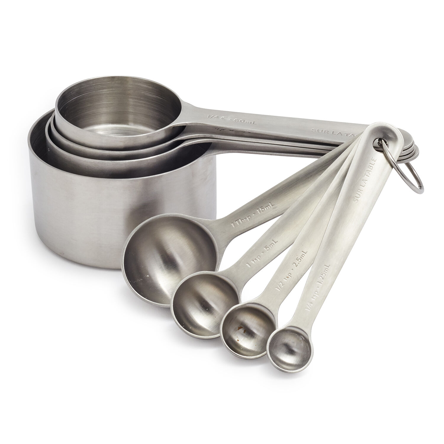 4 MEASURING CUPS /& 4 SPOONS STAINLESS STEEL FREE SHIPPING USA ONLY