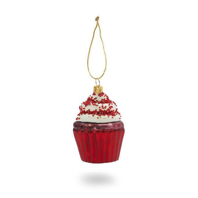 Red Velvet Cupcake Glass Ornament