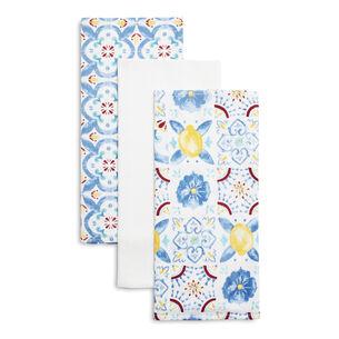 """Lemon Tile Floursack Kitchen Towels, 30"""" x 20"""", Set of 3"""