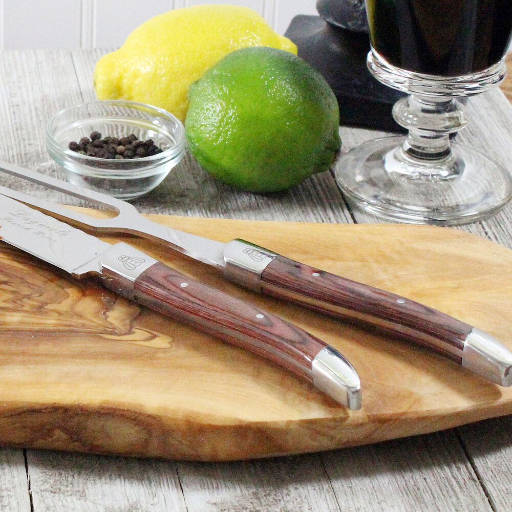 French Home Laguiole Pakkawood Carving Knife and Fork Set