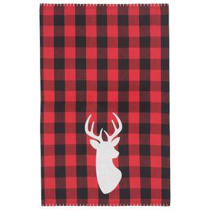 "Buffalo Check Deer Kitchen Towel, 28"" x 18"""