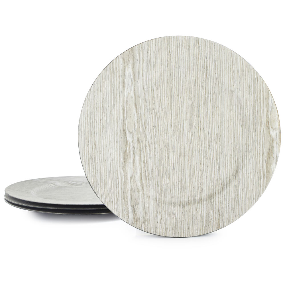Wood-Grain Chargers, Set of 4