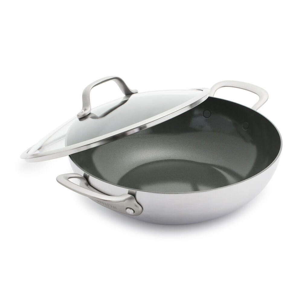 GreenPan Craft Steel Chef's Pan with Lid, 5 qt.