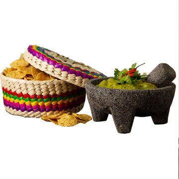 Verve Culture Molcajete and Tortilla Warming Basket