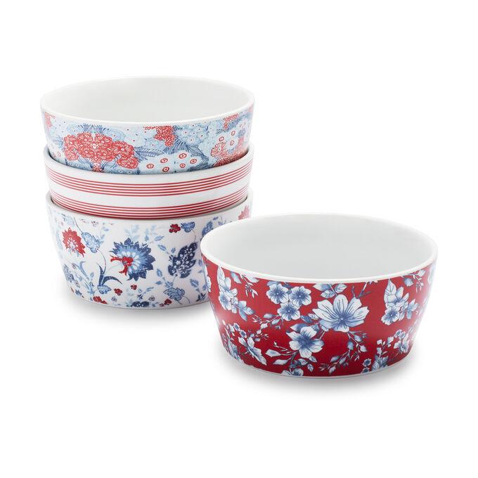 Pique-nique Floral Porcelain Bowls, Set of 4