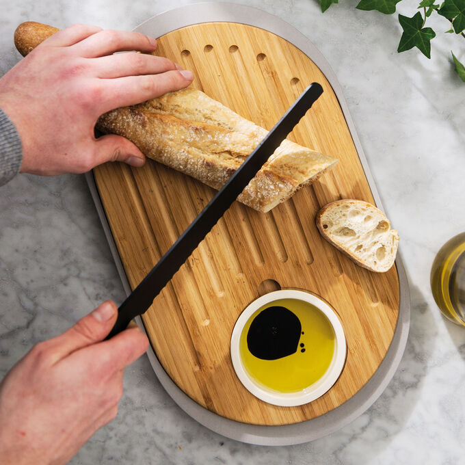 Berghoff Leo Two-Sided Bamboo Tapas Cutting Board with Tray
