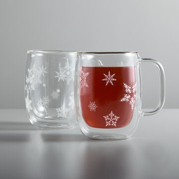 Zwilling J.A. Henckels Sorrento Double-Wall Snowflake Coffee Glasses, 12 oz., Set of 2