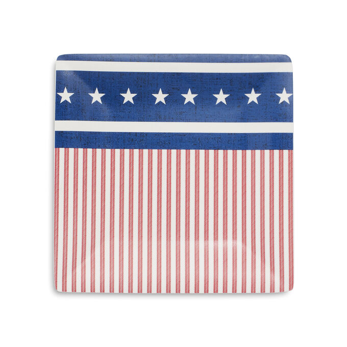 Fourth of July Flag Square Appetizer Plates, Set of 4