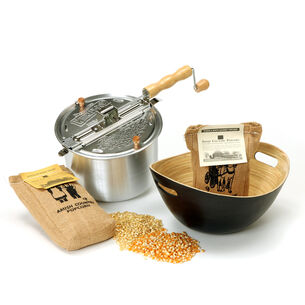 Whirley Pop Stovetop Popcorn Popper with Handcrafted Bamboo Bowl and Popcorn