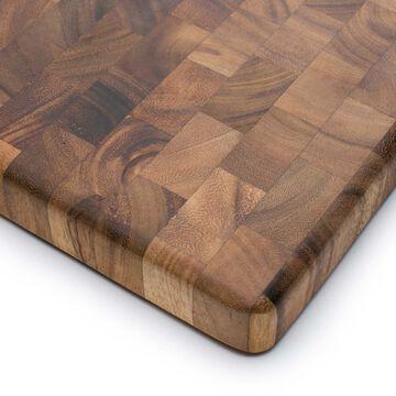 "Charleston End Grain Acacia Wood Cutting Board and Prep Station, 14"" Square"