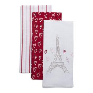 "Valentine's Day Flour Sack Kitchen Towels, 30"" x 20"", Set of 3"