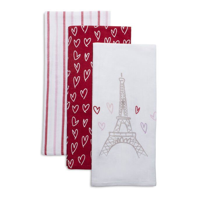 "Valentine's Day Flour Sack Kitchen Towels, 30"" x 20"", Set of 3"