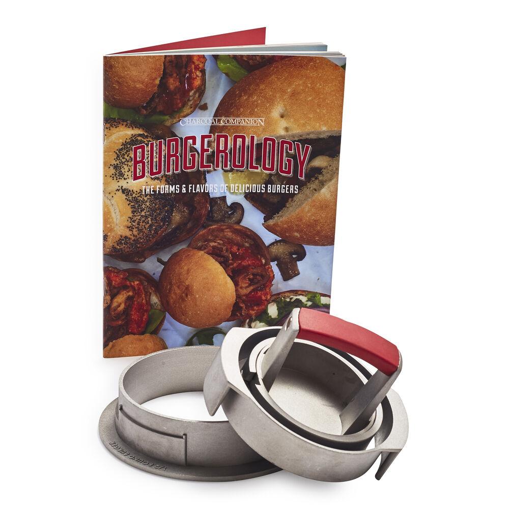 Sur La Table Cast Aluminum 3-in-1 Adjustable Burger Press with Recipe Book