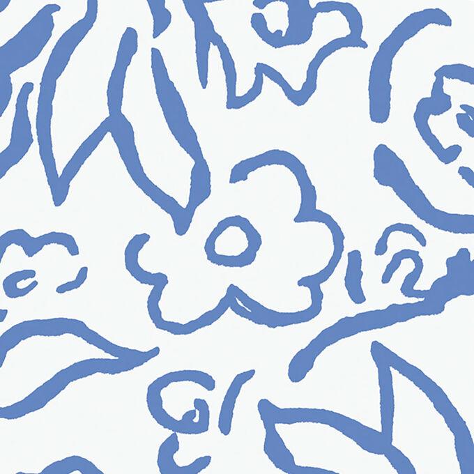 Caspari Matisse Blue Guest Napkins, Set of 15