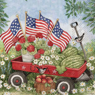 Patriotic Wagon Cocktail Napkins, Set of 20