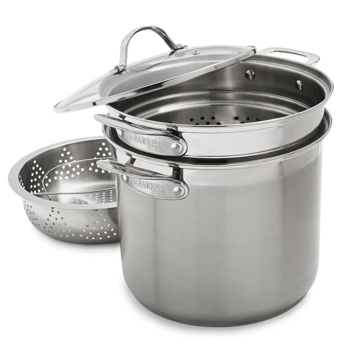 La Marque Stockpot with Pasta and Steamer Insert, with lid, 12 QT.