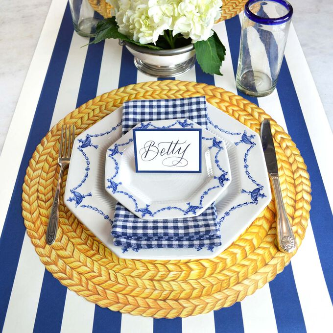 Navy Paper Table Settings
