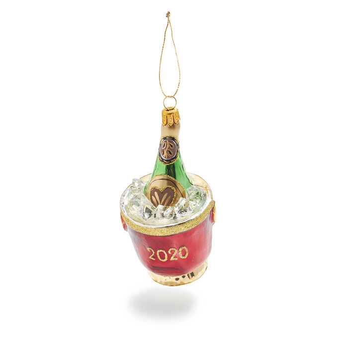 Champagne on Ice Glass Ornament
